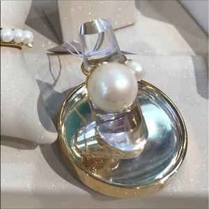 Kate Spade Double Pearl Statement Gold Ring NWT
